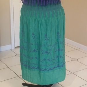 Jewel Green and Blue High Cinch-Waist Maxi Skirt